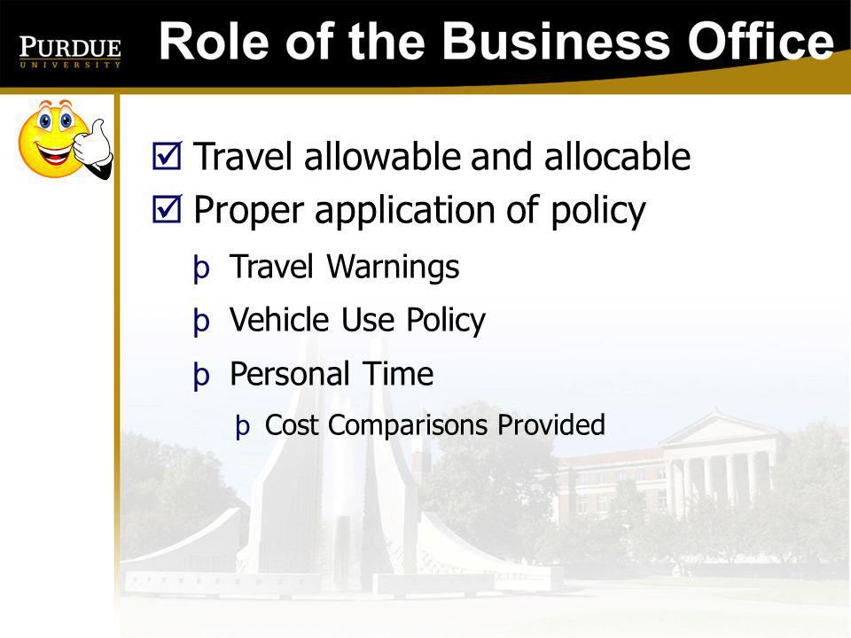 Travel allowable and allocable Proper application of policy