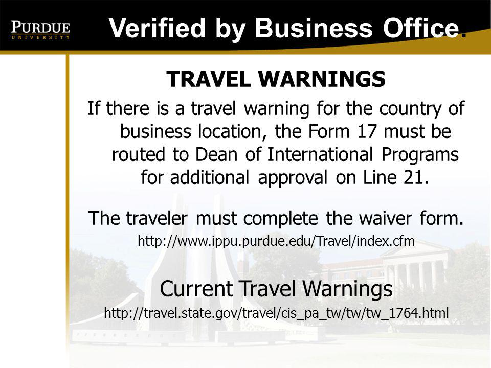 Verified by Business Office: