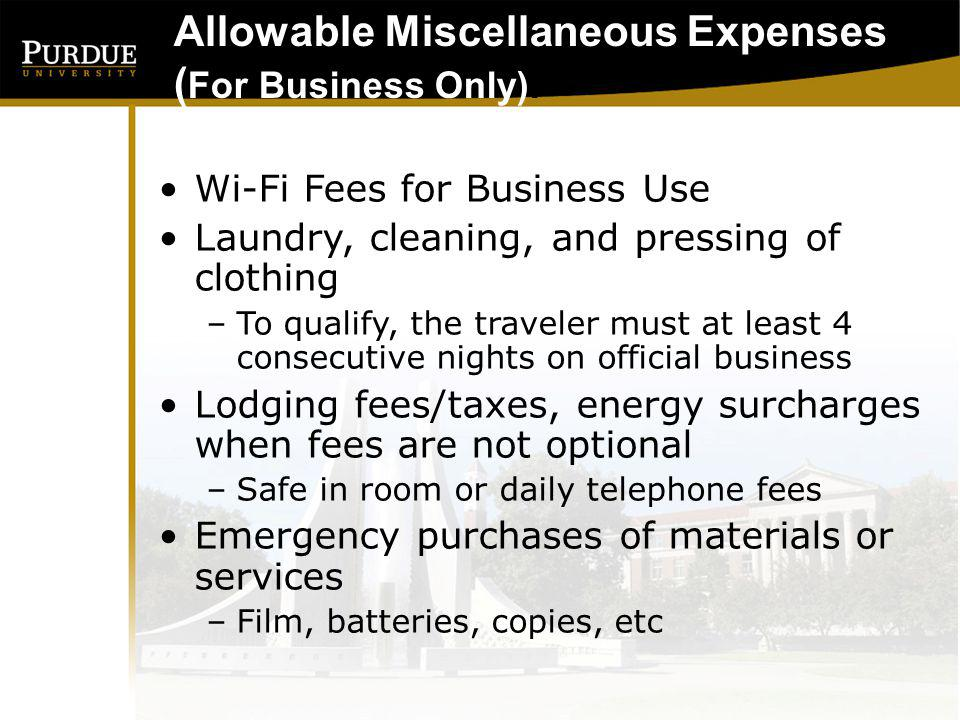 Allowable Miscellaneous Expenses (For Business Only):