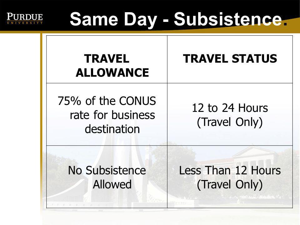 Same Day - Subsistence: