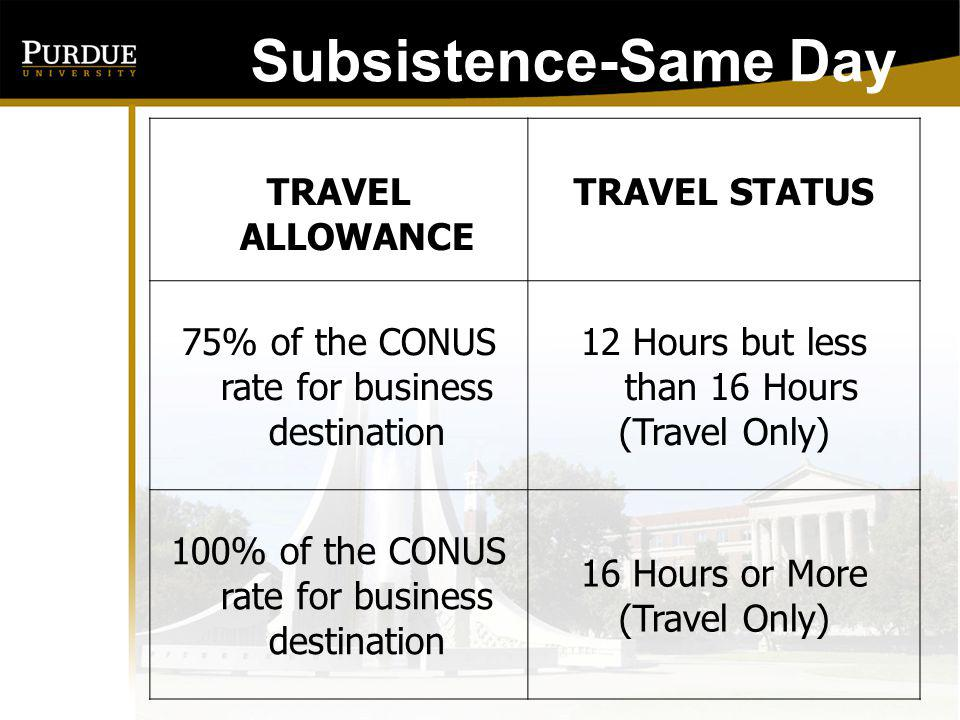 Subsistence-Same Day TRAVEL ALLOWANCE TRAVEL STATUS