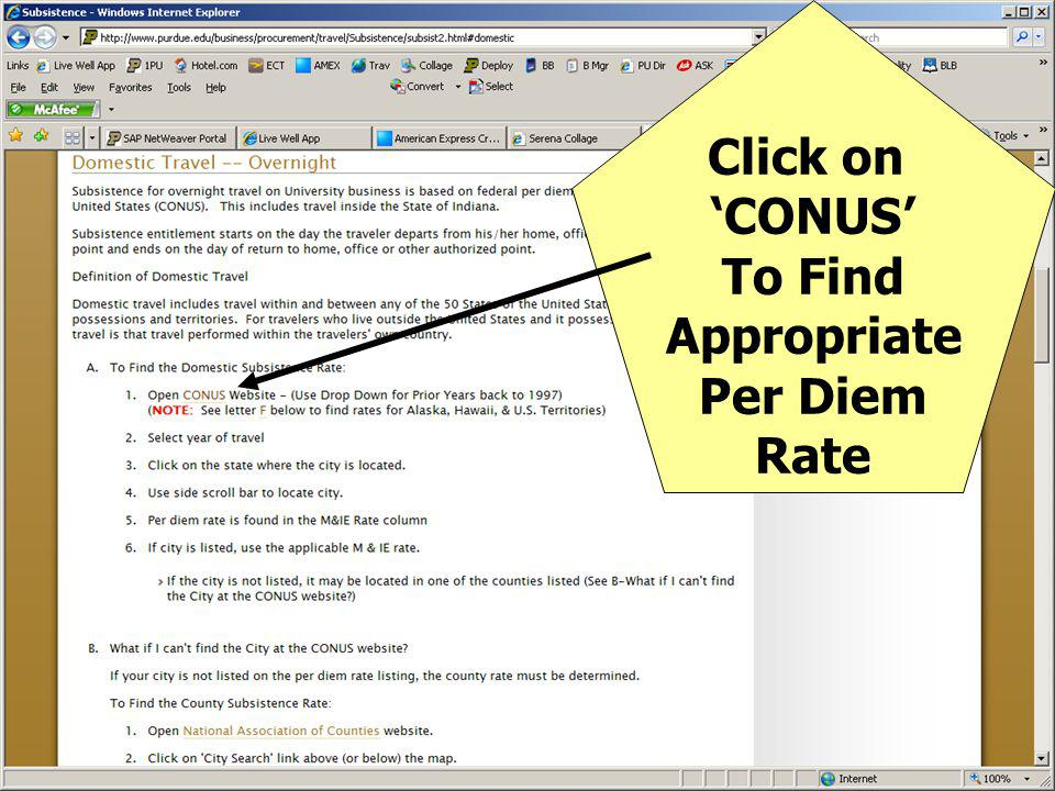 Click on 'CONUS' To Find Appropriate Per Diem Rate