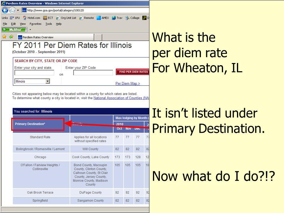 Now what do I do ! What is the per diem rate For Wheaton, IL