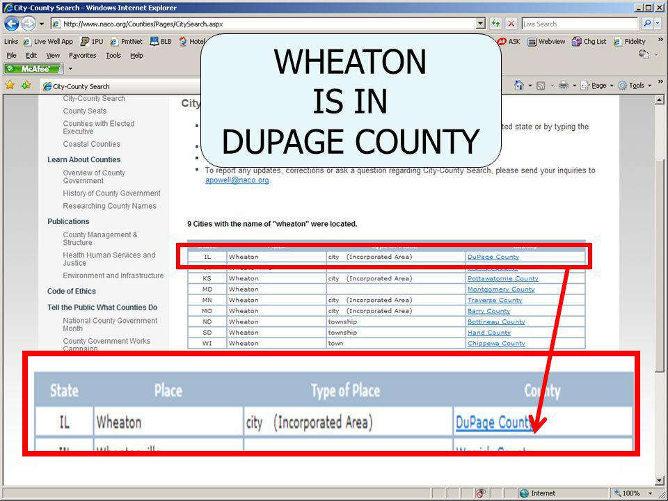 WHEATON IS IN DUPAGE COUNTY