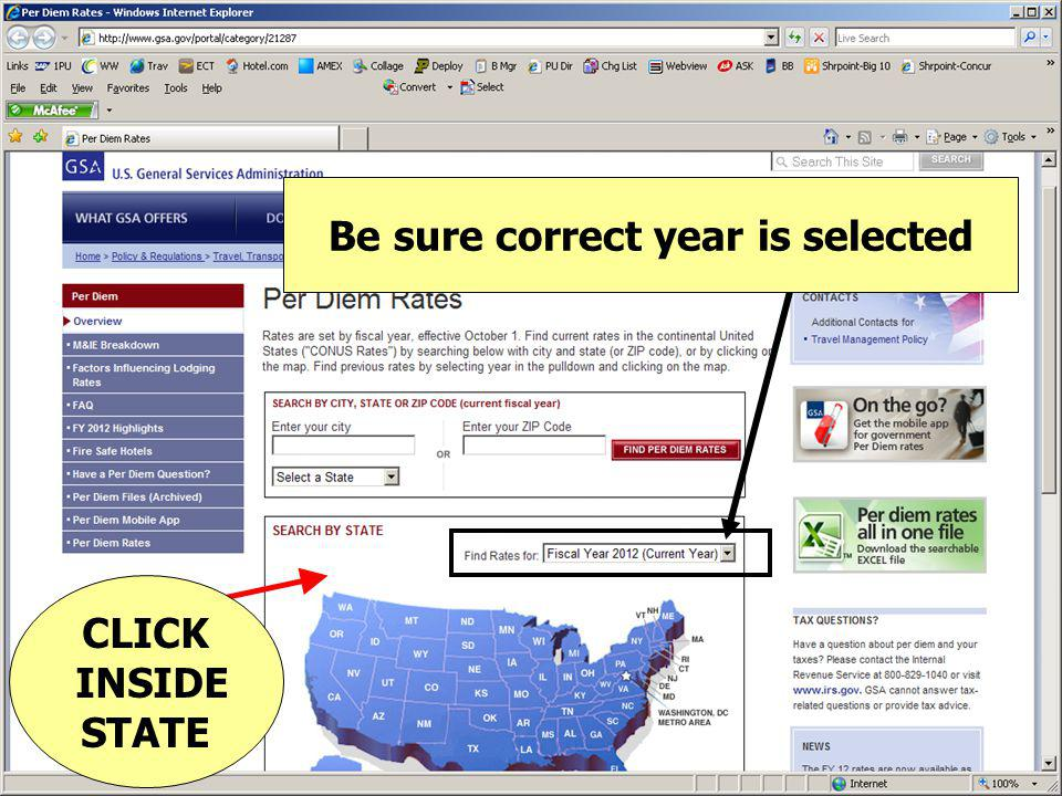 Be sure correct year is selected