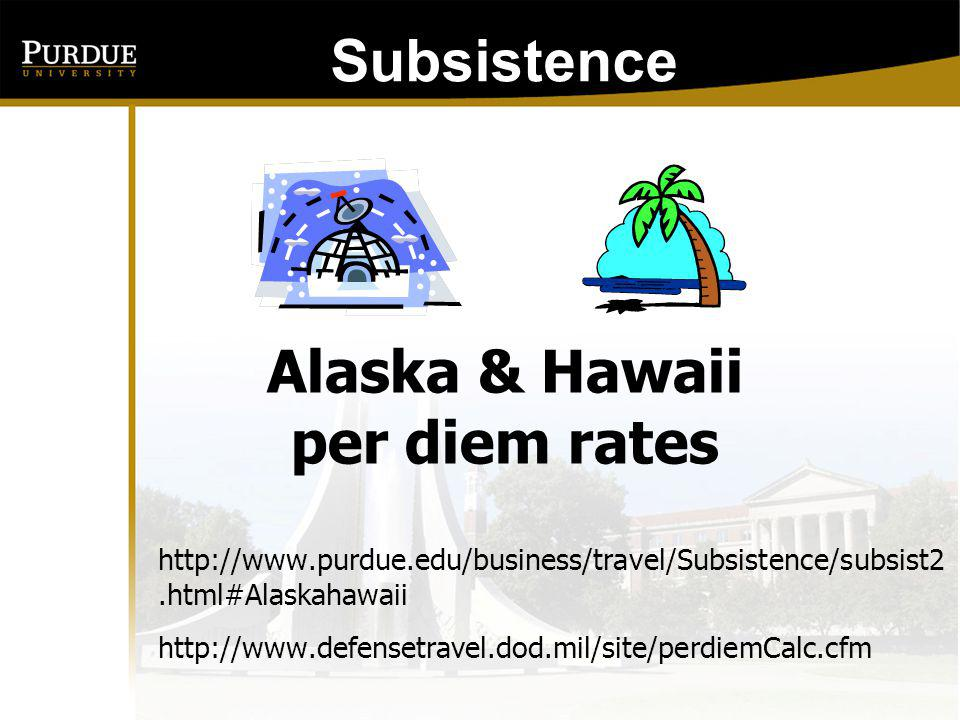 Alaska & Hawaii per diem rates