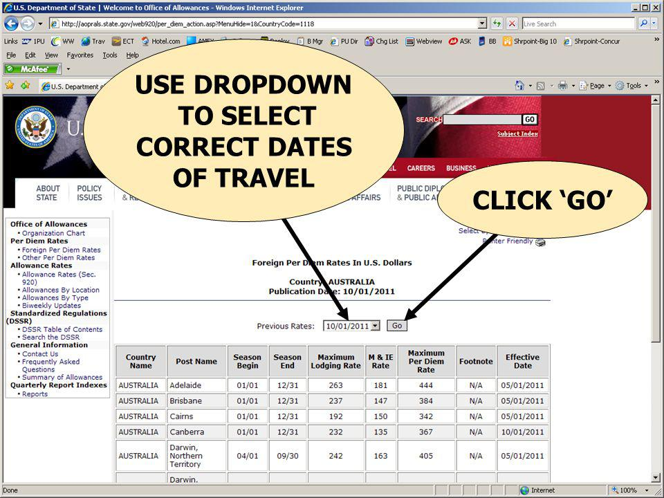USE DROPDOWN TO SELECT CORRECT DATES OF TRAVEL CLICK 'GO'