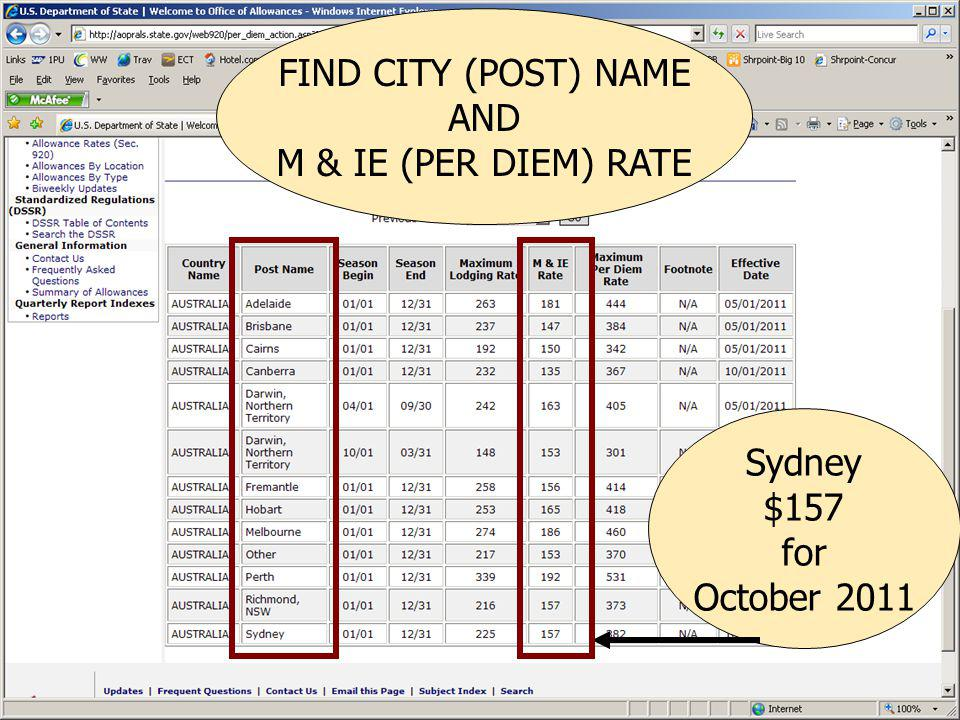 FIND CITY (POST) NAME AND M & IE (PER DIEM) RATE Sydney $157 for October 2011