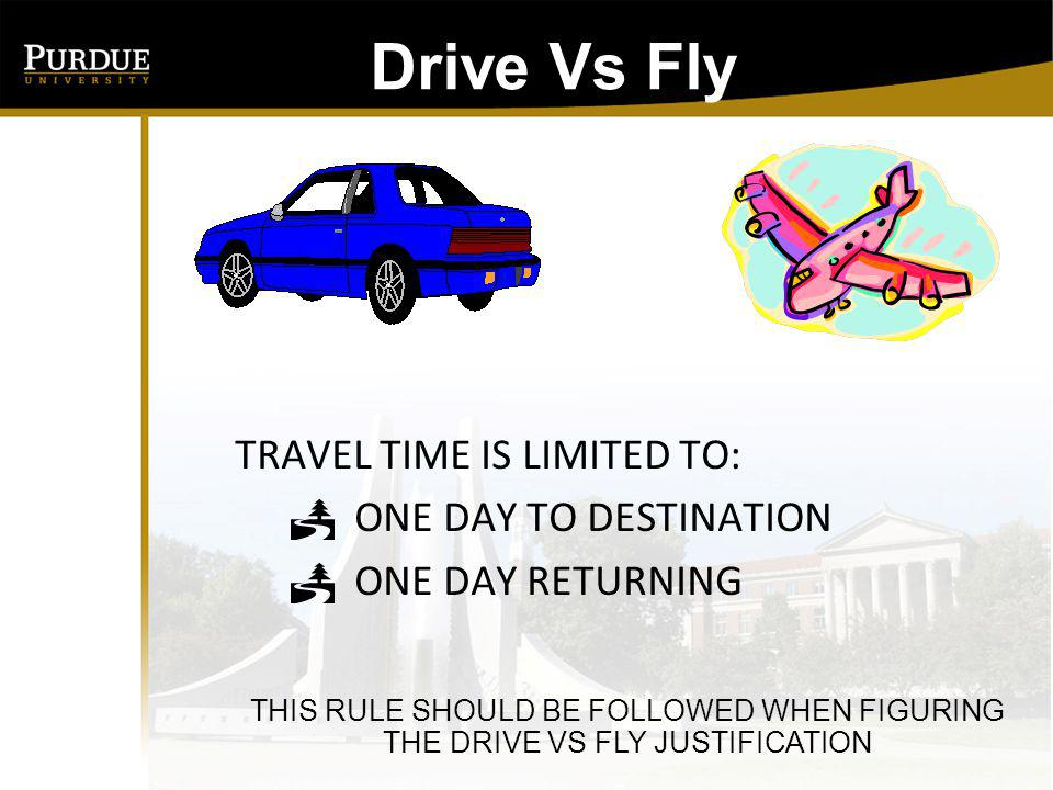 Drive Vs Fly: TRAVEL TIME IS LIMITED TO: ONE DAY TO DESTINATION