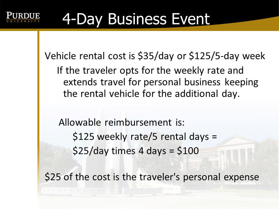 4-Day Business Event Vehicle rental cost is $35/day or $125/5-day week