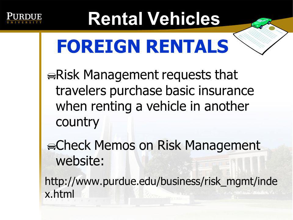 Rental Vehicles: FOREIGN RENTALS