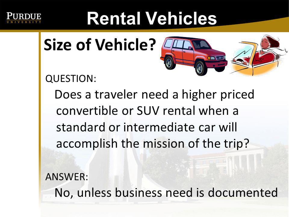 Rental Vehicles: Size of Vehicle