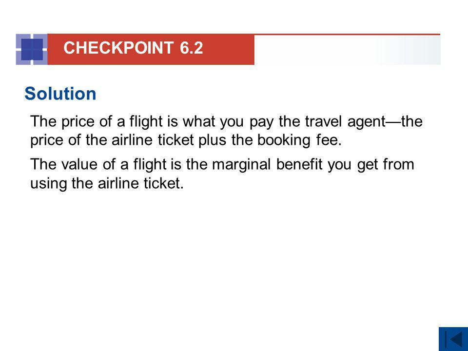 CHECKPOINT 6.2 Solution. The price of a flight is what you pay the travel agent—the price of the airline ticket plus the booking fee.