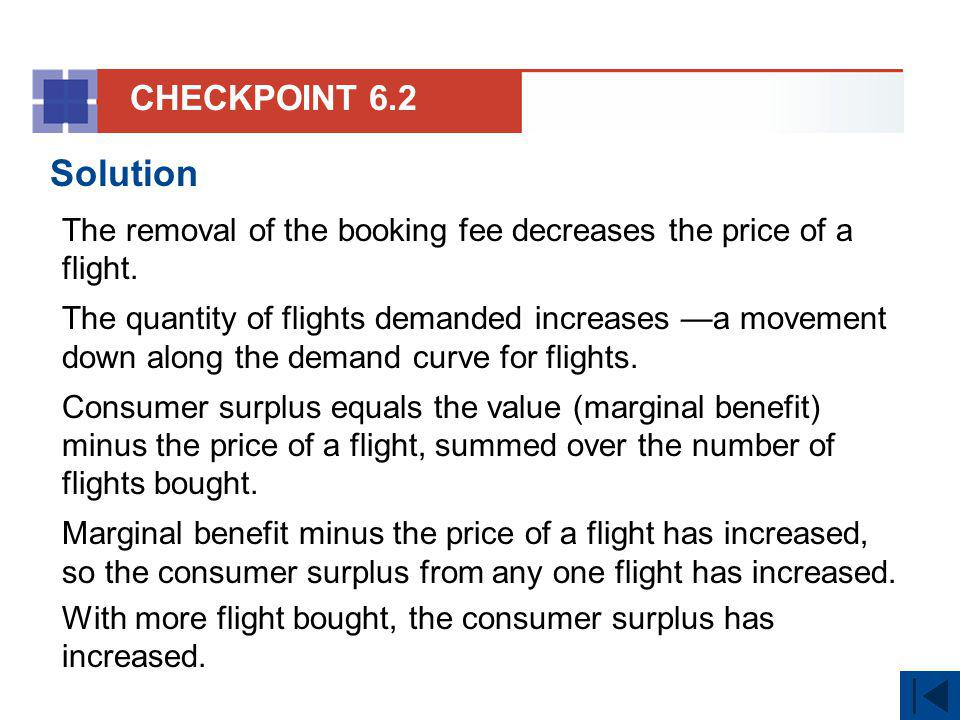 CHECKPOINT 6.2 Solution. The removal of the booking fee decreases the price of a flight.