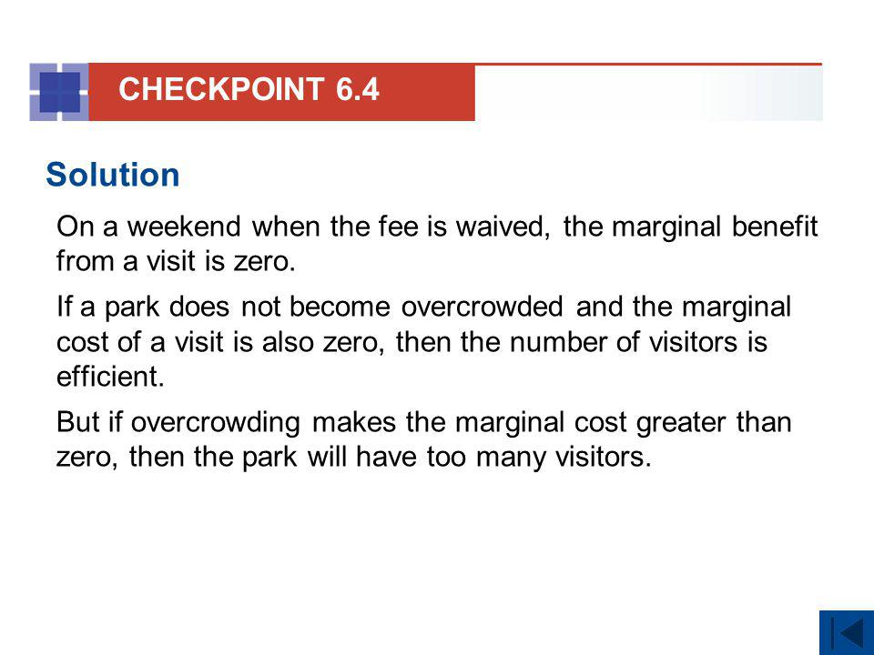 CHECKPOINT 6.4 Solution. On a weekend when the fee is waived, the marginal benefit from a visit is zero.