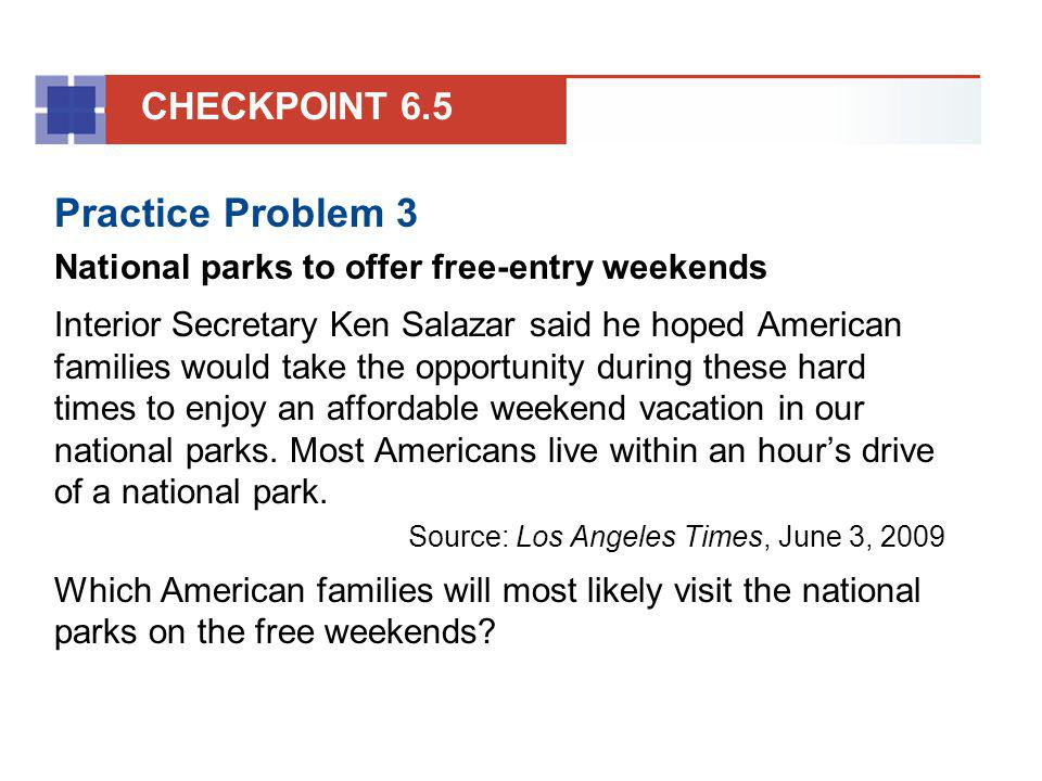 Practice Problem 3 CHECKPOINT 6.5
