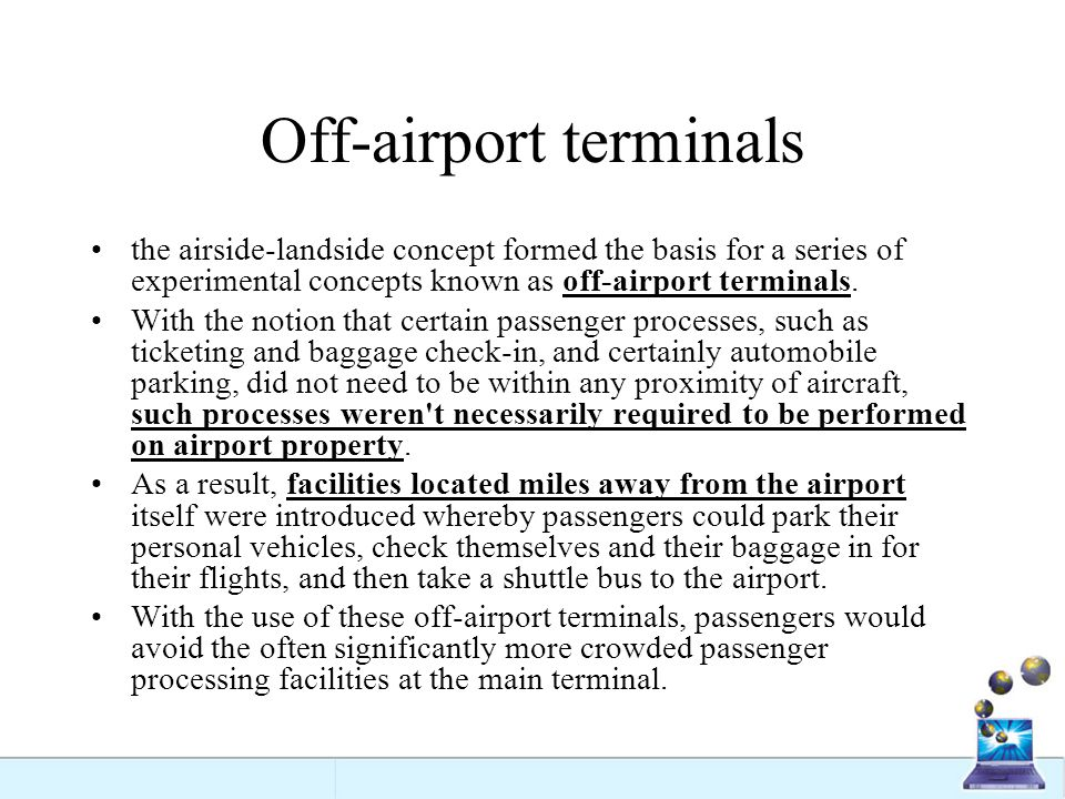 Off-airport terminals