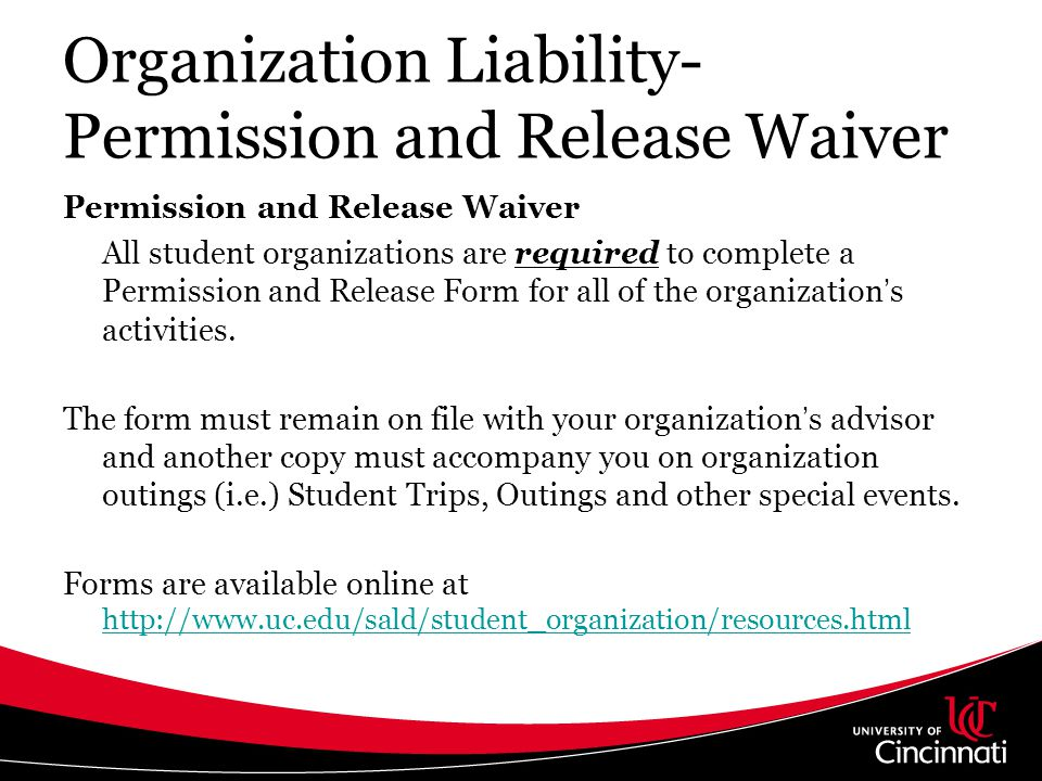Organization Liability- Permission and Release Waiver