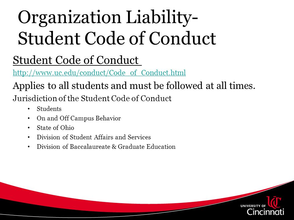 Organization Liability- Student Code of Conduct
