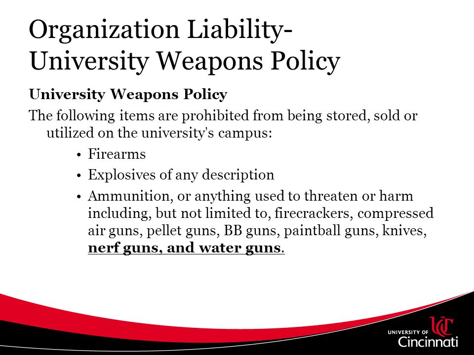 Organization Liability- University Weapons Policy