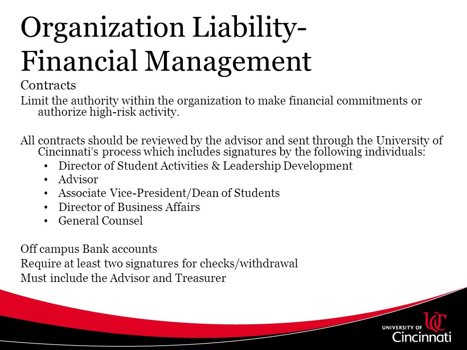 Organization Liability- Financial Management