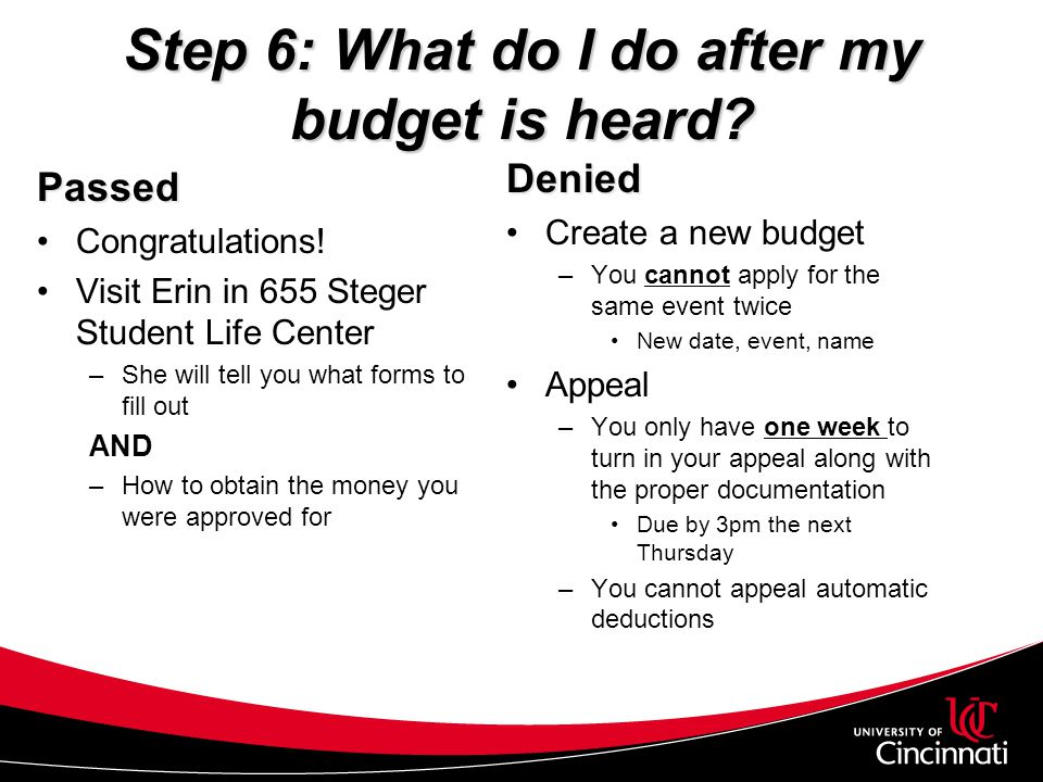 Step 6: What do I do after my budget is heard