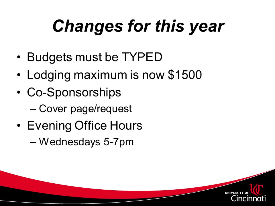 Changes for this year Budgets must be TYPED