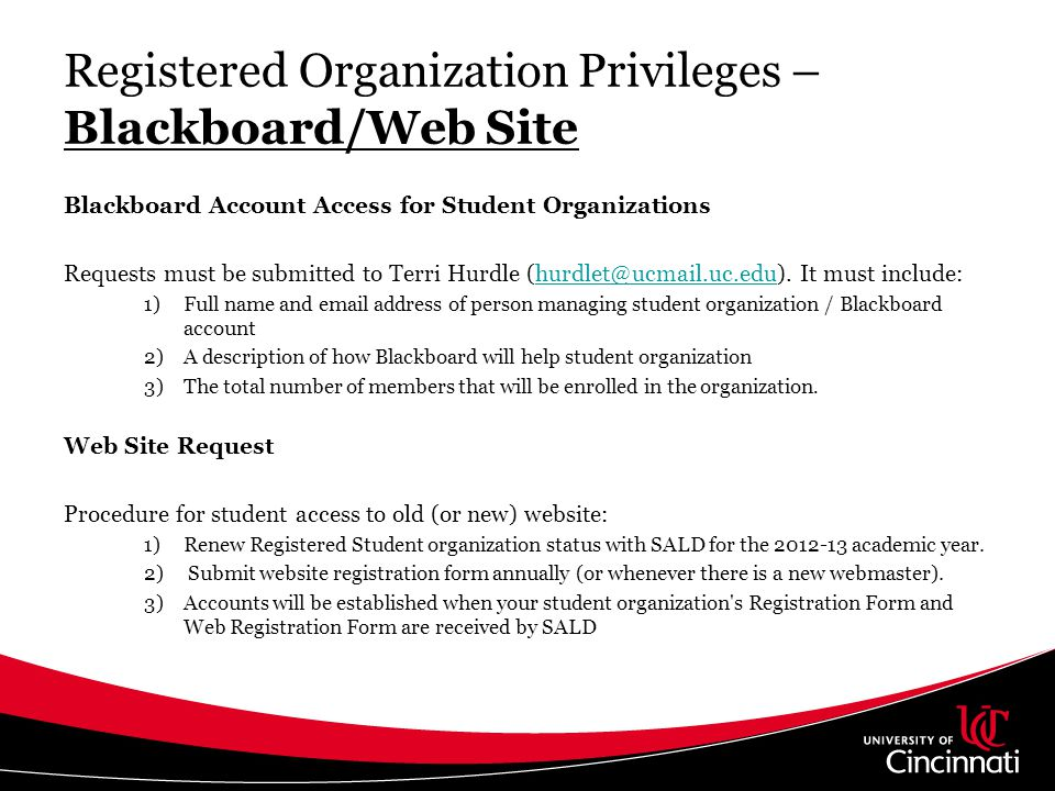 Registered Organization Privileges – Blackboard/Web Site