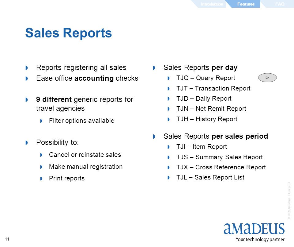 Sales Reports Reports registering all sales Sales Reports per day