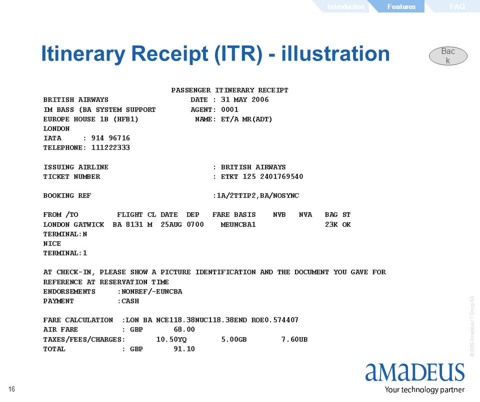 Itinerary Receipt (ITR) - illustration