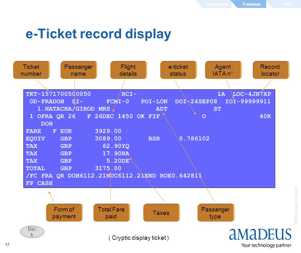 e-Ticket record display