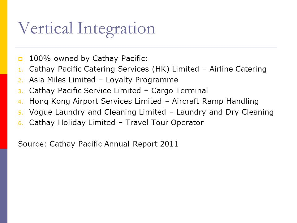Vertical Integration 100% owned by Cathay Pacific: