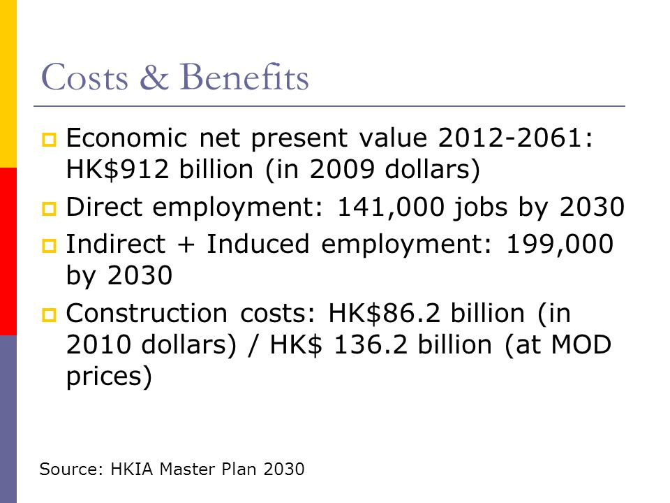 Costs & Benefits Economic net present value : HK$912 billion (in 2009 dollars) Direct employment: 141,000 jobs by
