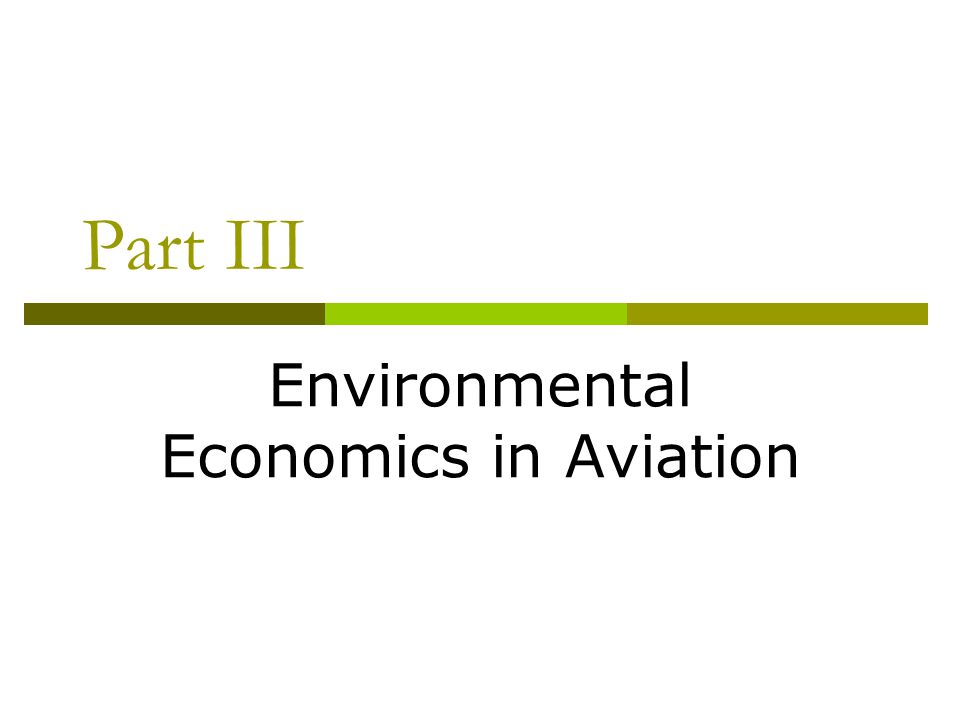 Environmental Economics in Aviation