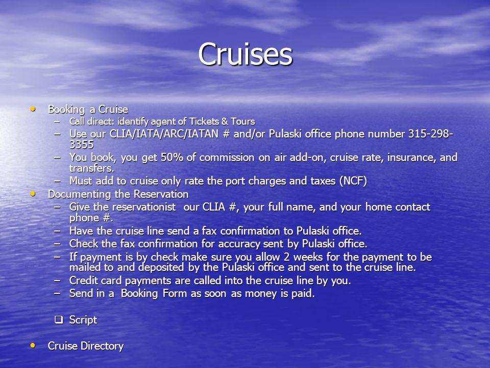 Cruises Booking a Cruise