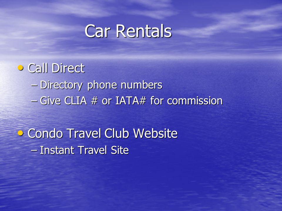 Car Rentals Call Direct Condo Travel Club Website