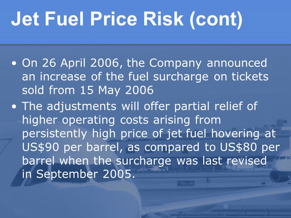 Jet Fuel Price Risk (cont)