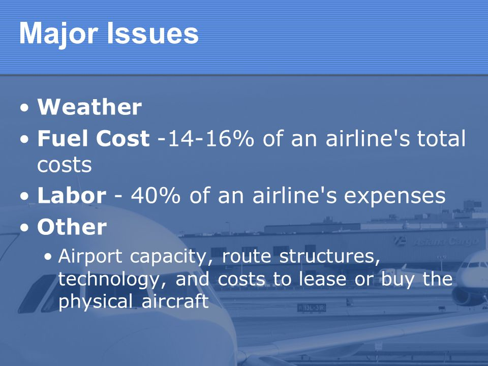 Major Issues Weather Fuel Cost -14-16% of an airline s total costs