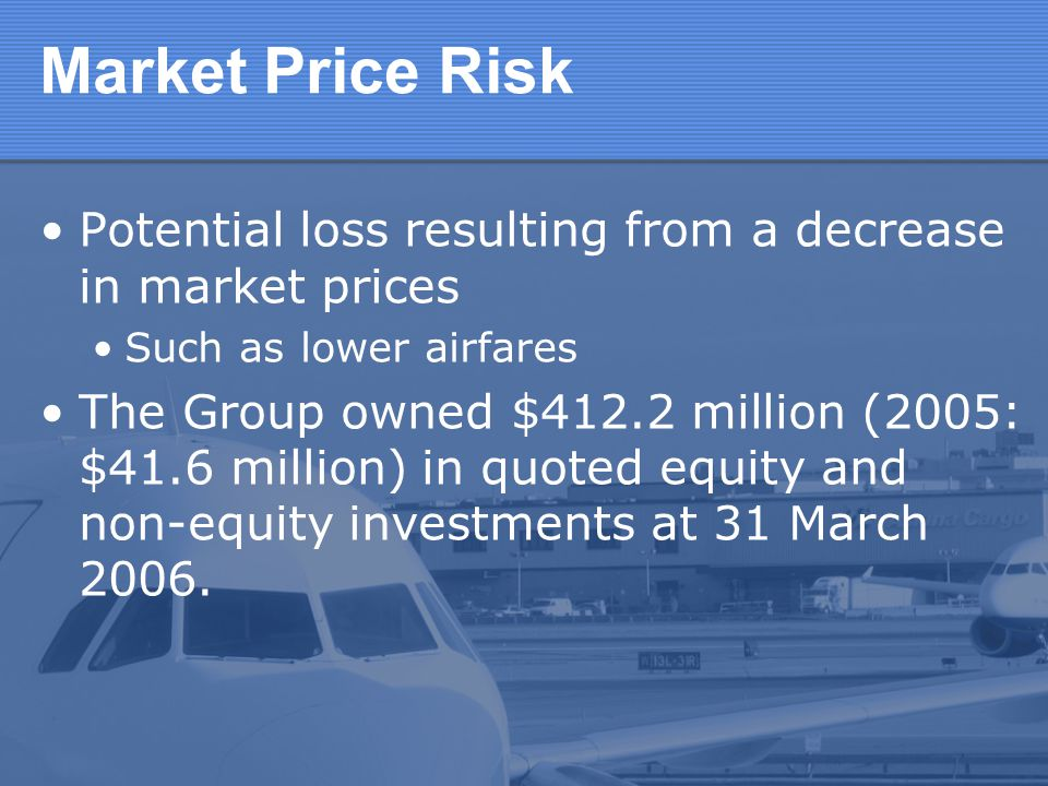 Market Price Risk Potential loss resulting from a decrease in market prices. Such as lower airfares.