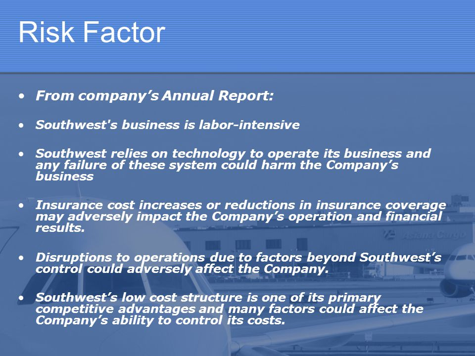 Risk Factor From company's Annual Report: