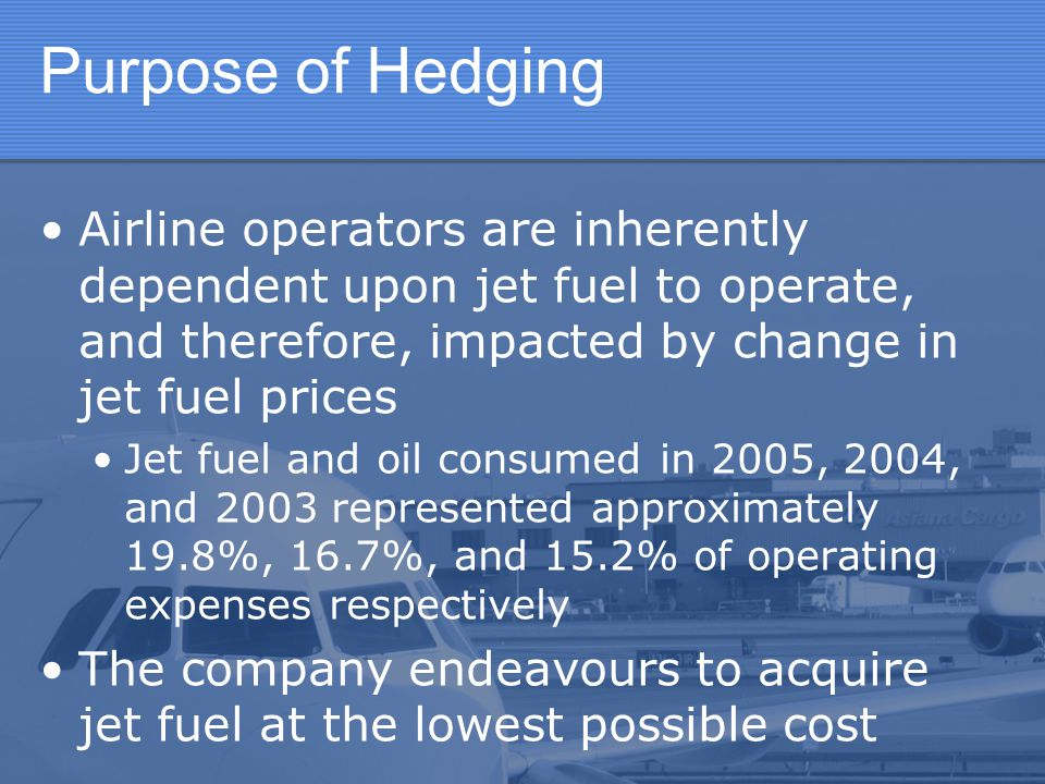 Purpose of Hedging Airline operators are inherently dependent upon jet fuel to operate, and therefore, impacted by change in jet fuel prices.