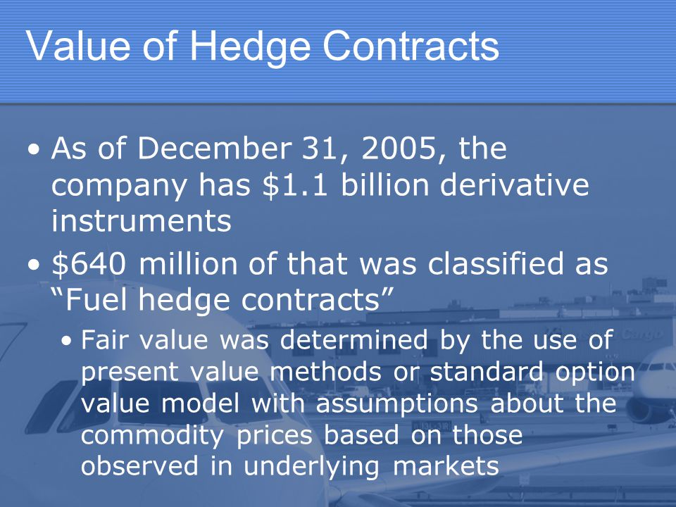 Value of Hedge Contracts