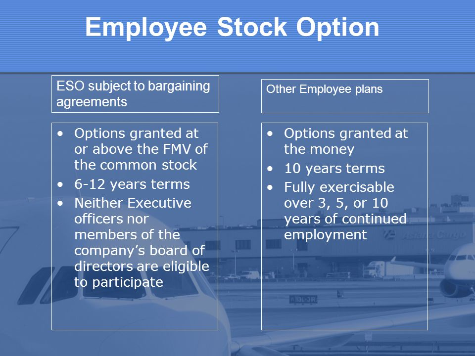 Employee Stock Option ESO subject to bargaining agreements