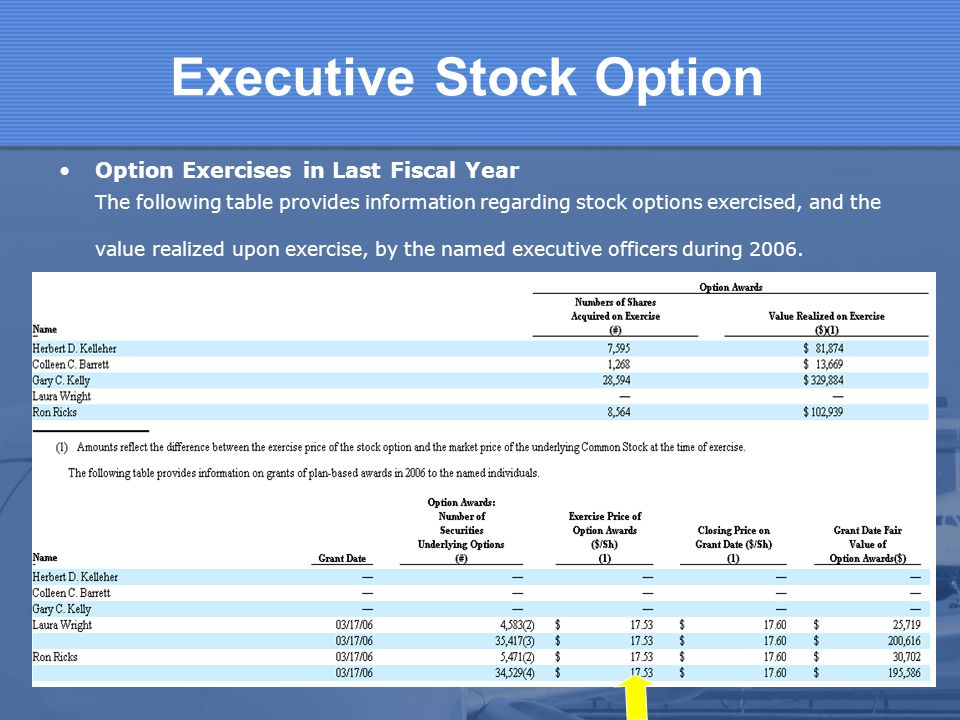 Executive Stock Option