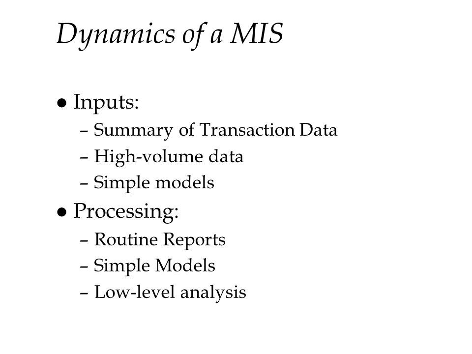 Dynamics of a MIS Inputs: Processing: Summary of Transaction Data