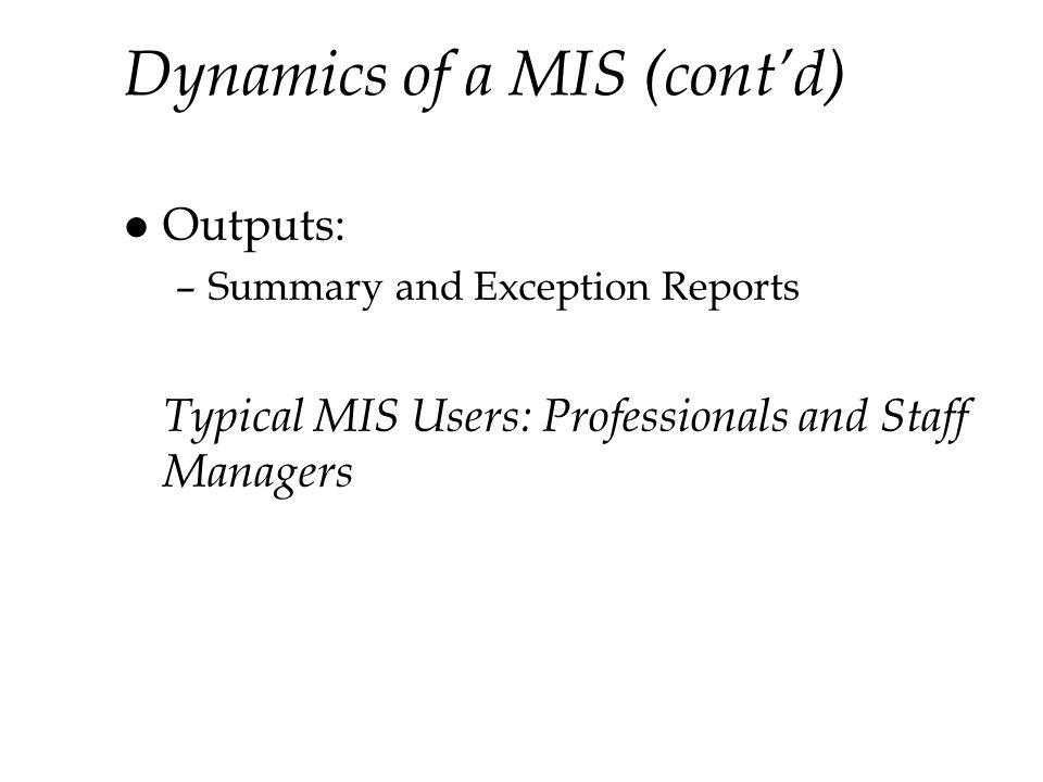 Dynamics of a MIS (cont'd)
