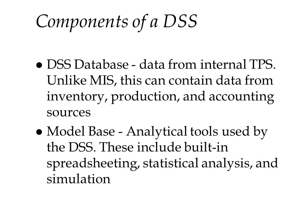 Components of a DSS DSS Database - data from internal TPS. Unlike MIS, this can contain data from inventory, production, and accounting sources.