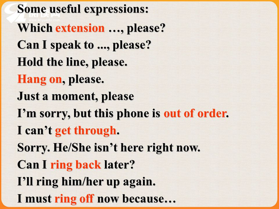 Some useful expressions: