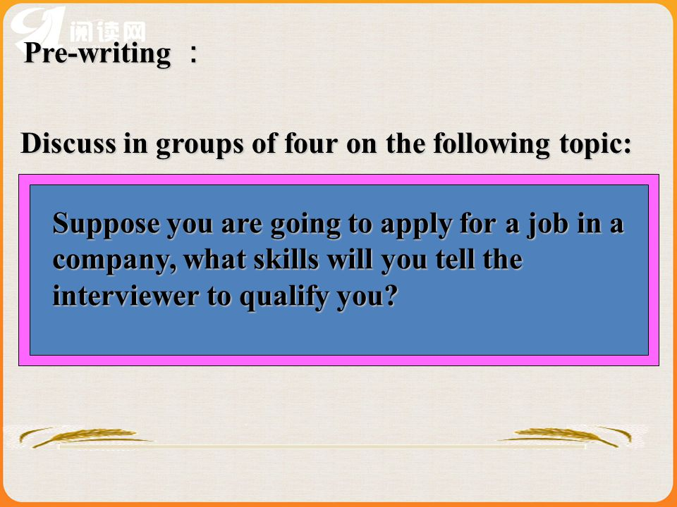 Pre-writing : Discuss in groups of four on the following topic:
