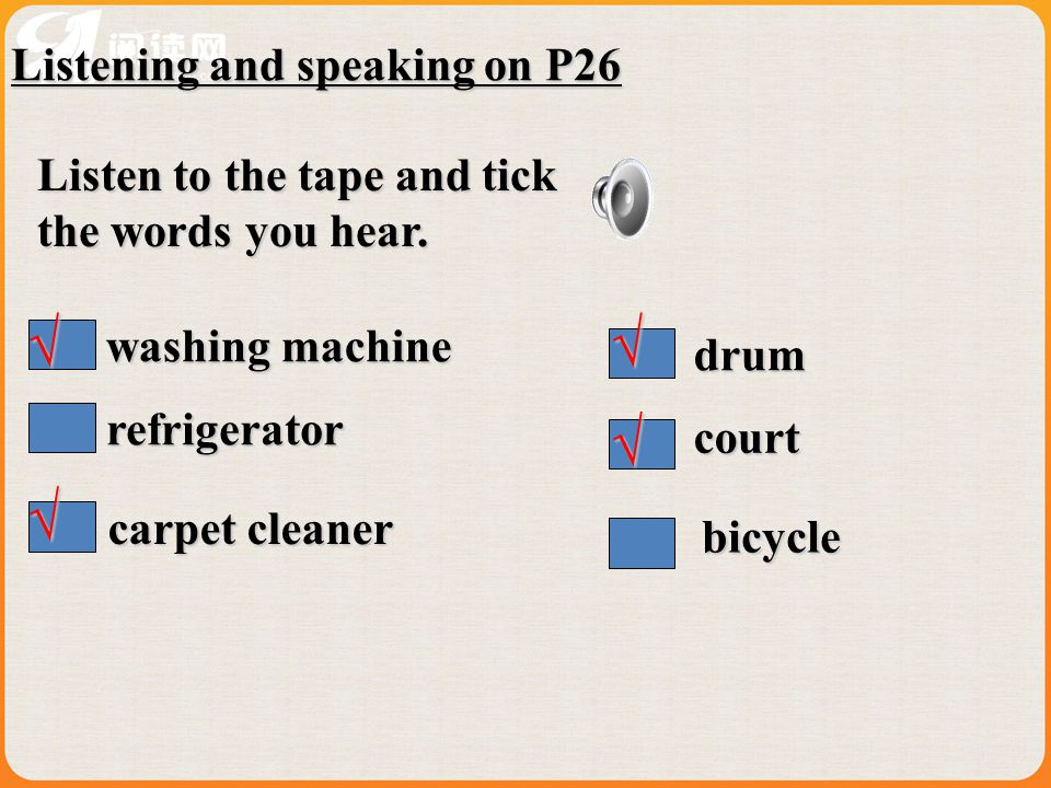 √ √ √ √ Listening and speaking on P26